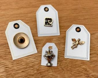 Vintage collection of 4 tie tacks or lapel pins, Pierre Cardin tie tack, angel tie tack, alien tie tack