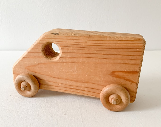 Vintage primitive handmade wooden truck, homemade toy, wooden toys
