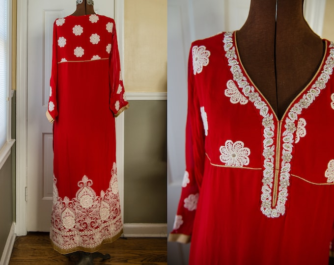 Traditional red full-length Indian tunic dress with beading, embroidery and metallic gold trim | Size S