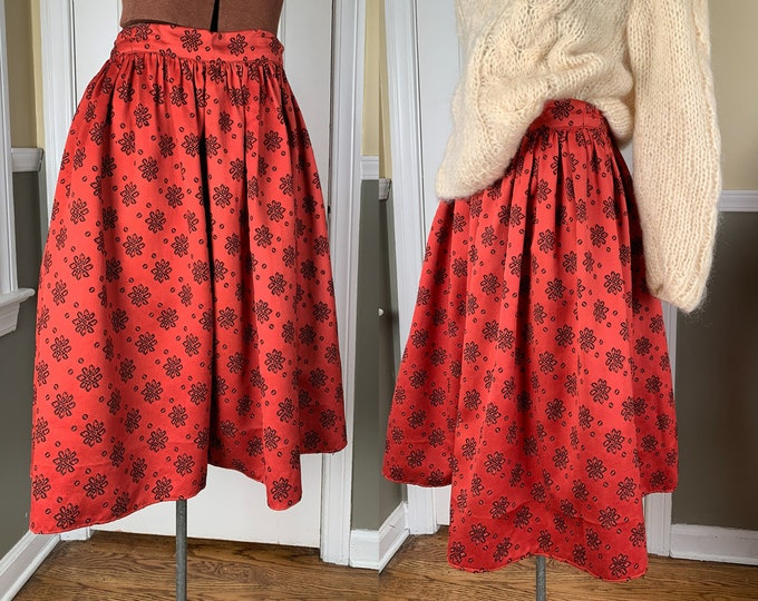 Vintage 1960s handmade burnt orange skirt with floral print | holiday skirt | special occasion skirt | Size M/L