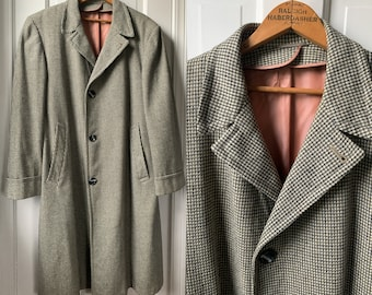 Vintage 40s 50s wool checked overcoat loomed in the British Isles by Saxony Sz L/XL