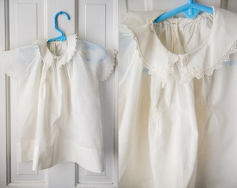 Vintage 1950s white cotton baby doll dress with embroidery and lace trim | christening dress
