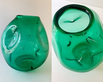 Vintage Mid Century green blown glass pinched dimpled vase *FLAWED*, MCM tabletop decor, mid century glassware