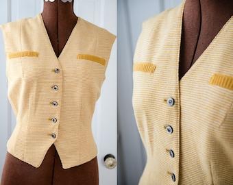 Vintage 60s yellow knitwear sleeveless top or vest, Sacony, Sz XS