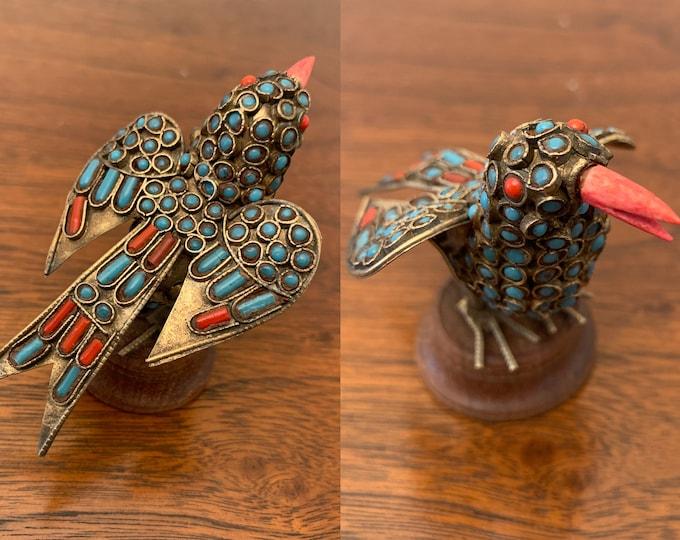 Vintage Tibetan brass bird with inlaid turquoise and coral, Nepalese handmade decorative bird, bohemian decor