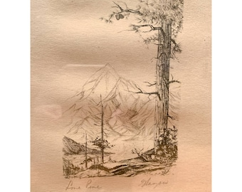 """Vintage mountains and trees """"Lone Pine"""" framed etching or lithograph"""