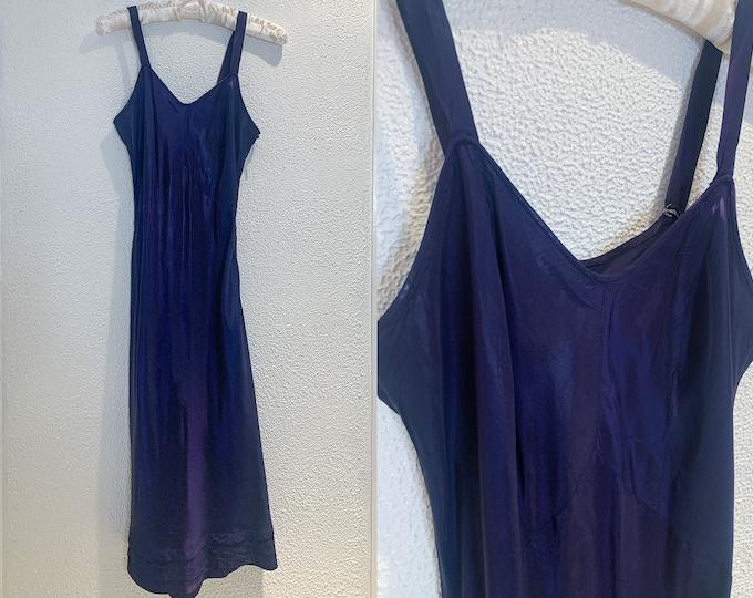 Vintage navy blue minimalist full slip, slip dress, Size