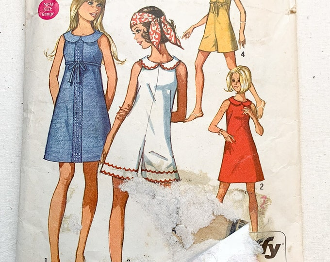Vintage 1969 Simplicity Jiffy sewing pattern 8262 teens and juniors short dress and mini-pant-dress | 60s romper pattern | Size 11, 12