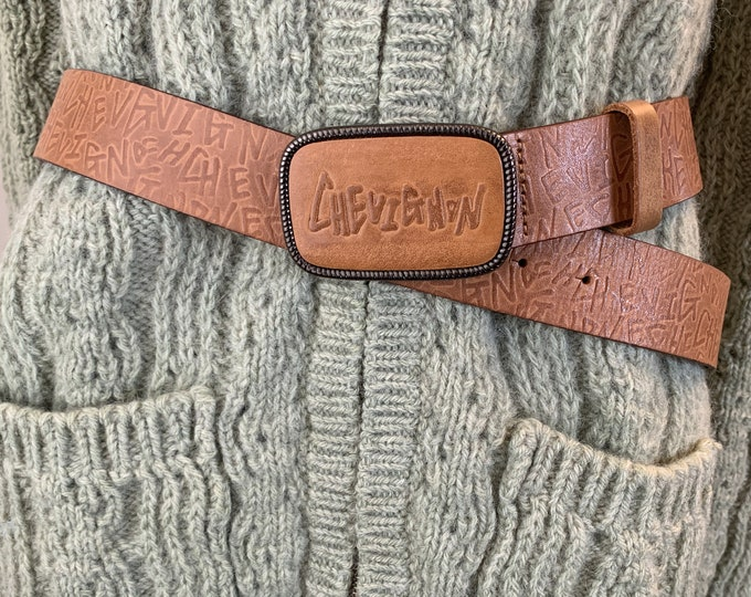 """Chevignon leather belt with leather logo buckle, French fashion belt, brown belt, size 33"""" - 37"""""""