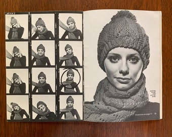 Vintage 1970s knit and crochet pattern book for socks, mittens, scarves, hats | Coats & Clark's  Book No. 215