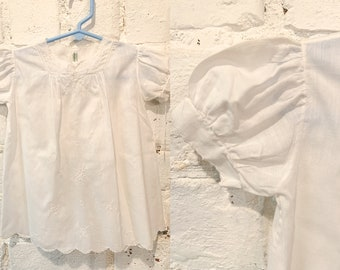 Vintage white cotton baby dress with puff sleeves, embroidery and scalloped edges, baby doll dress