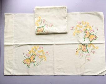 "Pair of vintage 1970s Tastemaker Marlene Designs yellow butterfly pillowcases | standard size | 19"" x 31"""