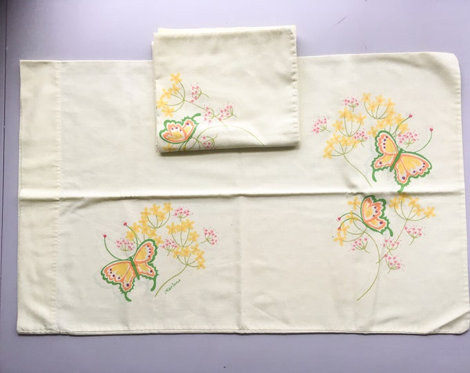 "Pair of vintage 1970s Tastemaker Marlene Designs yellow butterfly pillowcases | standard size | 19"" x 31"""
