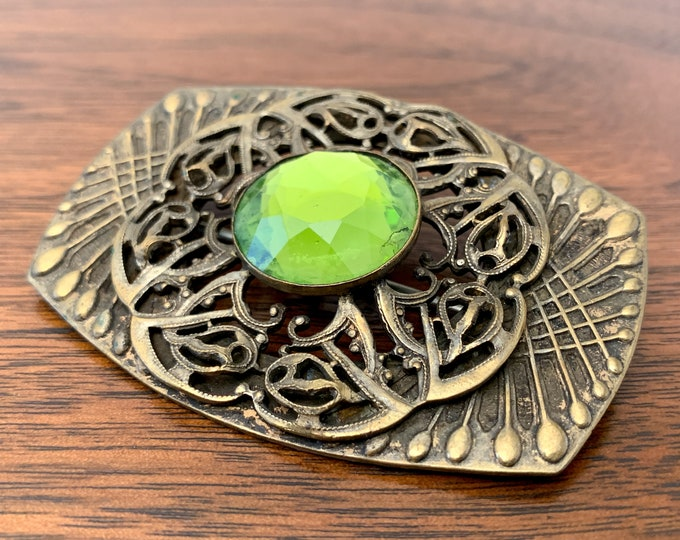 Vintage brass brooch with green faceted stone, Art Nouveau brooch, large decorative pin