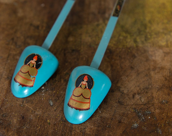 Vintage women's shoe trees blue with victorian lady in bustle dress motif decals, shoe inserts