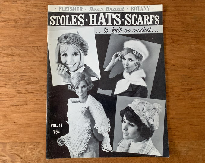 Vintage 1960s knitting & crochet pattern book for stoles, scarves and hats, Fleischer Bear Brand Botany
