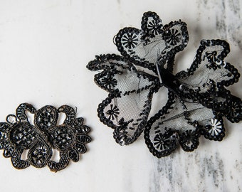 Vintage black beaded and sequined decorative salvaged appliqué pieces | destash sewing project | Victorian Edwardian