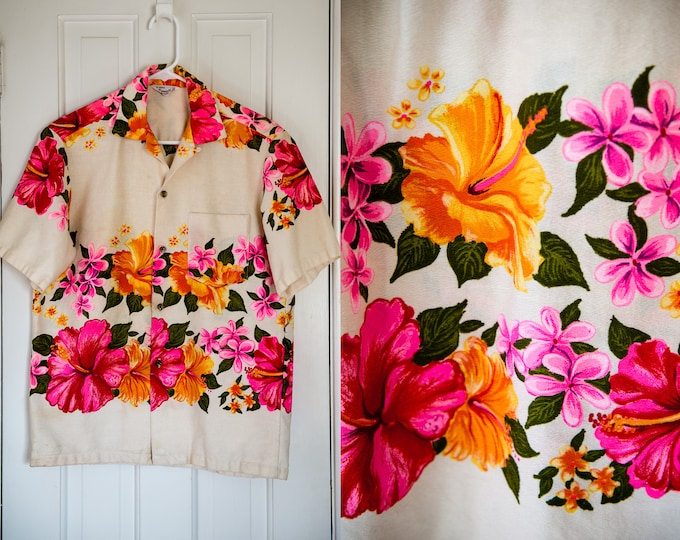 Vintage 1960s short sleeve Hawaiian luau shirt with fluorescent hibiscus flower motif | made in Hawaii | Size S