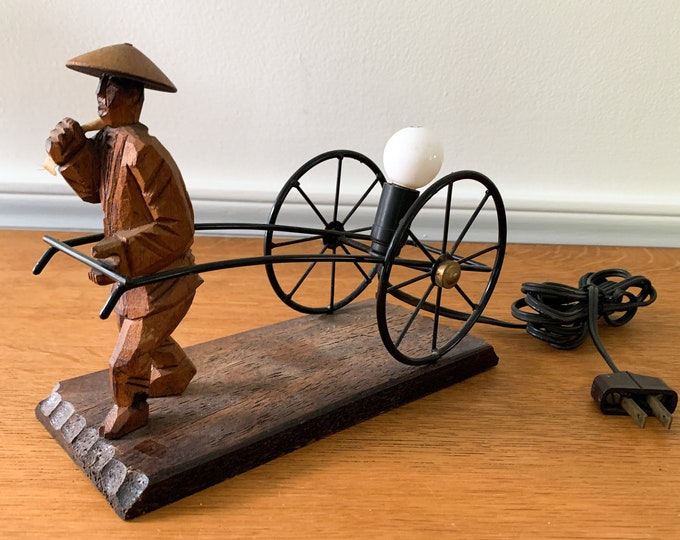 Vintage Japanese hand carved wooden table lamp with metal rickshaw, Asian decor, novelty lamp