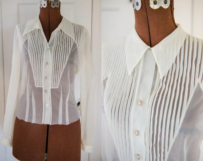 Vintage 50s sheer white nylon long sleeve blouse with pleated details, tuxedo style, Sz XS/S