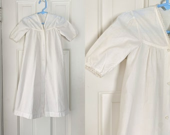 Vintage cotton minimalist baptismal baby dress with lace trim | antique christening dress | vintage white baby dress