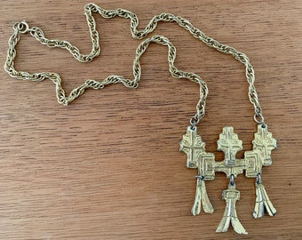 Vintage 1970s modernist brutalist gold-tone style necklace with dangles