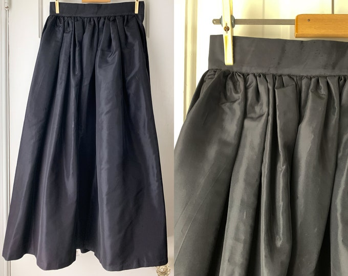 Vintage 1950s black taffeta ankle length dirndl-style skirt | rehab project or costume | Size XS - S