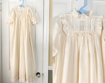 Vintage cotton baptismal dress with puffy sleeves, lace, embroidery and ruffled yolk detail | antique christening dress | ornate baby dress