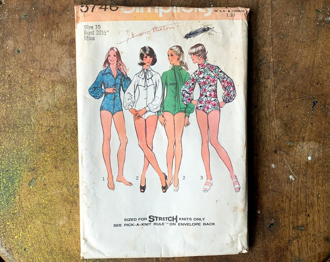 Vintage 1973 Simplicity sewing pattern for set of misses bodysuits 5746 | Size 10