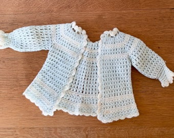 Vintage 50s blue and white hand-crocheted baby sweater, handmade baby doll clothing, size 0-3 months