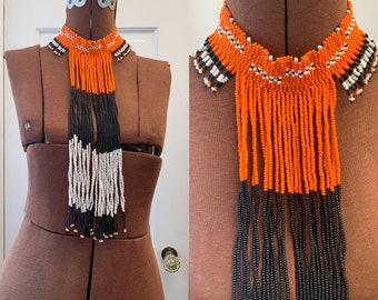 Vintage African style statement necklace hand-beaded, orange and black boho style neck, mod beaded collar