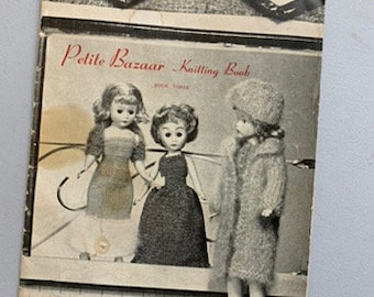 Vintage 1960s Virginia Lakin's Petite Bazaar Knitting Book, knitted doll clothing pattern