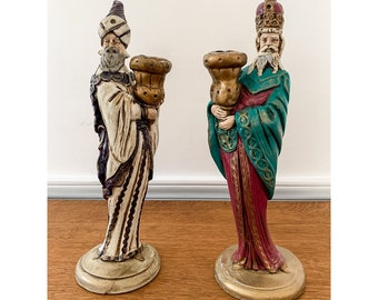 Vintage 2pc chalk-ware wise men candle holders, Christmas decor, hand painted Christmas