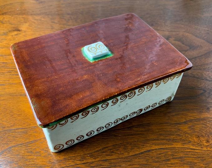 Vintage 1950s artisan made pottery box | handmade pottery trinket box | MCM cigarette box