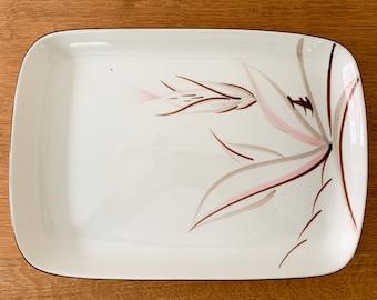 "Vintage Winfield Ware Dragon Flower china pattern serving platter, MCM dinnerware, Santa Monica Ca., 14.5"" x 10"""