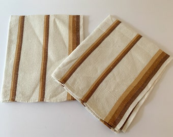 Vintage 2pc lot of brown and white striped linen dish towels, kitchen towels or tea towels