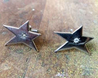 Vintage silver tone and rhinestone stylized star cufflinks | shooting star cufflinks | collectible cufflinks