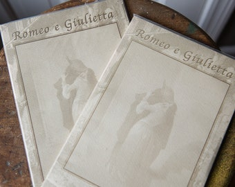 "Two Vintage ""Romeo e Giulietta""/""Romeo and Juliet"" stationary sets in decorative portfolio organizers 