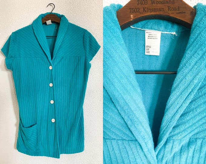 Vintage blue short sleeve terrycloth top or beach cover up, Size S/M
