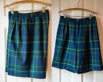 Women's Pendleton Signature Tartan 100% virgin wool high waisted and pleated walking shorts | made in USA