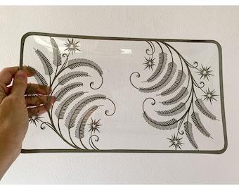 Vintage 40s silver overlay glass dish or platter, fern and starburst design