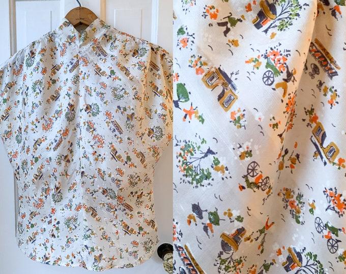 Vintage 50s cream color silk blouse with Parisian street scene print Sz S