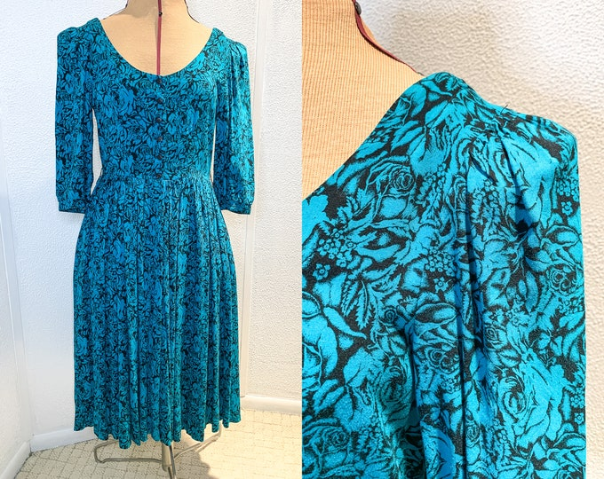 Vintage 80s teal and black floral dress with fitted scoop neck top and full skirt, Size S