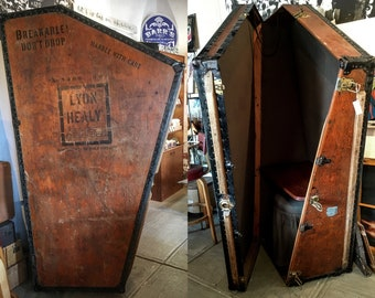 Vintage Lyon and Healy harp crate converted into a desk, vanity or bar