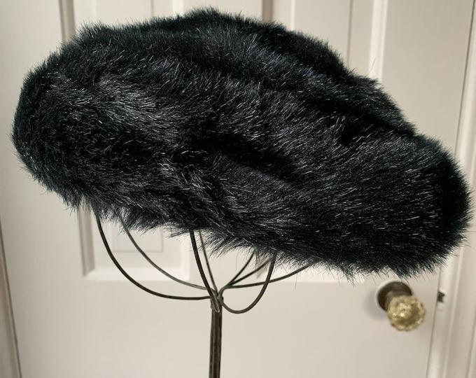 Vintage 60s black faux fur hat pillbox