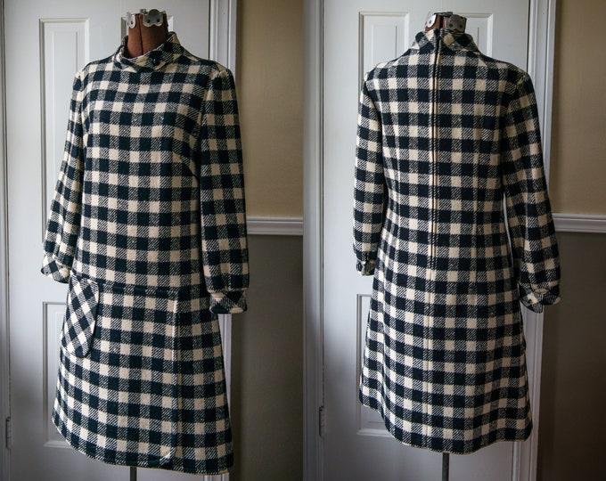 Vintage 1970s black and winter-white plaid wool Pendleton drop waist dress | Size 12 | Size M