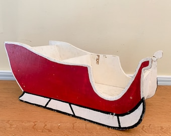 Vintage handmade wooden sleigh, primitive Christmas sleigh centerpiece, rustic holiday decor sleigh, wooden toy sleigh
