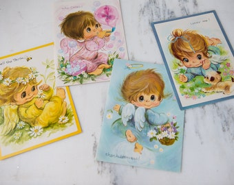 Lot of 10 vintage 1960s get well greeting cards with big-eyed cutie angel graphics | A Sunshine Card | Made in USA