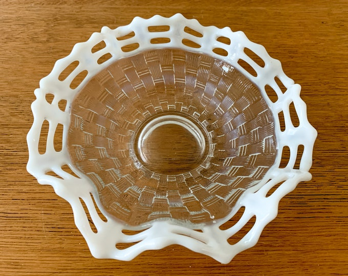 Vintage Fenton clear basket weave candy dish with white ruffled opalescent lattice edge, collectible glassware