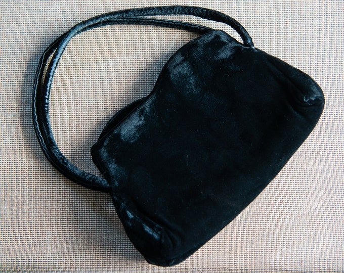 "Black velvet evening bag designed by Frilo | Vintage 1950s handbag | 6.5"" x 10"""